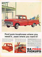 Vintage 1964 Magazine Ad Ford Pickup Built Like The Big Trucks From Axle to Axle