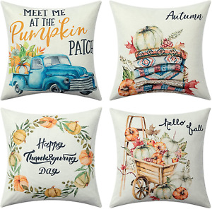 Set of 4 Fall Pillow Covers18x18in Fall Decor Throw Pillow Covers Linen Pumpkins