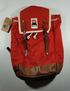 YKRA Red Backpack 100% Cotton canvas leather