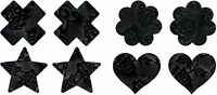 Black Lace (4 Pairs) Disposable Satin Nipple Cover Pasties