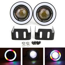 "2x 3.0"" Angel Eyes LED Fog Light Car COB Halo Ring White Projector Spot Lamp"