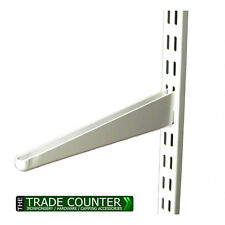 WHITE Twin Slot Shelving System Uprights Brackets Metal Adjustable Racking