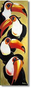 Vogel Tukane Gemälde Kunst Acrylmalerei Wandbild Handarbeit Art Nr.1129