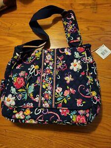 VERA BRADLEY Messenger Baby Bag Tote Ribbons Pink Black Floral Changing Pad NWT