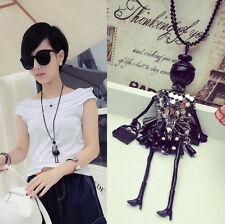 Fashion Women Elegant Dance Girl Crystal Long Chain Pendant Necklace Jewelry