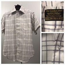 Vintage Nos 1960s 1970s White and Black Plaid Print Button Down Shirt Large