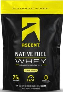 LEMON SORBET !!! Ascent Native Fuel Whey Protein Powder Blend - 2 lbs -