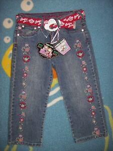 Original Bobby Jack Denim Capris Jean Girls Size 10 Belt Zipper Pockets Bling