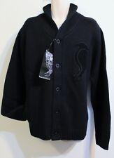 Fabric by Blackburn Cardigan Designer Sweater Size XXL 2XL Black 100% Wool