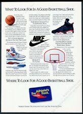 1991 Nike Air Jordan basketball shoes photo & diagram vintage print ad