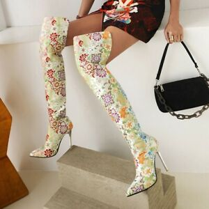 Womens Floral Pointed Toe Over The Knee High Boots Stiletto Heel Nightclub Shoes