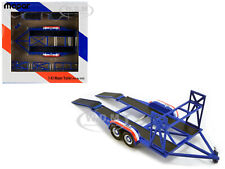 "TANDEM CAR TRAILER WITH TIRE RACK BLUE ""MOPAR"" 1/43 DIECAST MODEL BY GMP 14310"