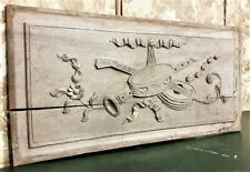 Flower music trophy wood carving pediment Antique french architectural salvage