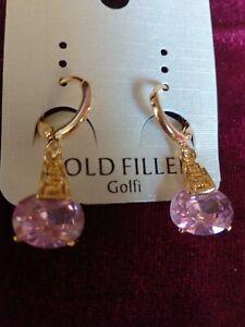Pendientes Gold Filled cristal de Austria rosa ,antialergico,no cambia el color