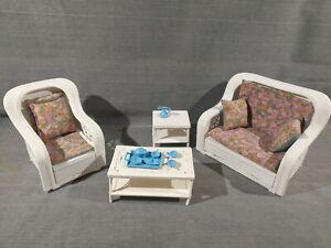 Barbie Salon de Jardin en Rotin années 80 incomplet