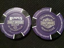 "Harley Davidson Poker Chip (Purple & Black) ""Bumpus H-D Shop"" Collierville,TN."