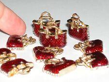 2pc Miniature doll hand bag Purse tiny Golden flatback charms Crystal 20mm New*