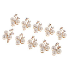 10pcs Crystal Rhinestones Pearl Flower Buttons for Clothes, Bags, Shoes