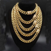 14mm width Men Boy Hip Hop Gold Stainless Steel Curb Chain Necklace or Bracelet