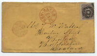 1864 #70 24ct 1861 New Haven CT to England fancy cancel [y4278]