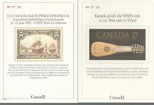 3 CANADA INT'L STAMP SHOW CARDS 1981-2 VIENNA, PARIS, ESSEN, FREE WORLD SHIPPING