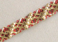 5 Yards. Metallic Trim with Beads. Red & Light Gold. Braid, Lace, Ribbon