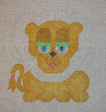 Vintage Hand Painted HP Needlepoint Canvas ~ Lion Pillow Top