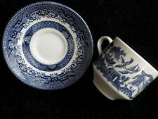 Churchill Tea Cup & Saucer Set x 3 Blue Willow Pattern Staffordshire UK