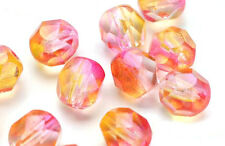 50 Angels Kiss Czech Glass Fire Polished Faceted Round Beads 6mm