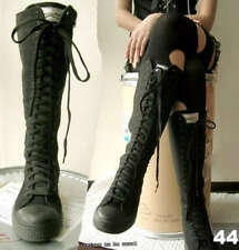 KNEE HI TOP Gothic PUNK ROCK canvas BOOTS Mono BLACK