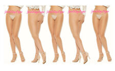 ✔️5-pair Lot PLUS SIZE Sheer CROTCHLESS PANTYHOSE Nude/Beige OPEN BACK 😍 Queen