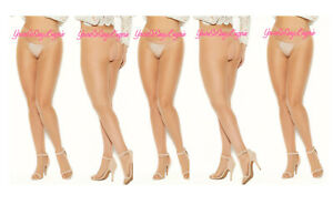 ✔️5-pair Lot PLUS SIZE Sheer CROTCHLESS PANTYHOSE Beige OPEN BACK 😍 Queen