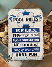 Pool Rules No PeeingIn the Pool - 8x12 Metal Sign - Swimming Pool Sign