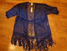 CHICO'S EMBROIDERED FRINGE CARDIGAN IN  MYSTERIOUS BLUE   SIZE 0   NWT