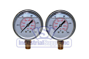 "Liquid Filled Pressure Gauge   0-1000 PSI   2-1/2"" Face   1/4"" LM   Dual Scale"