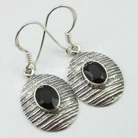 925 Stamped Sterling Silver BLACK ONYX New Dangle Earrings 1.3""