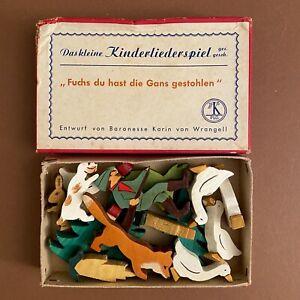 Holz-Figuren ALT 1940er 13x8x2cm Kinderlied Karin von Wrangell Antik-Spielzeug ✅