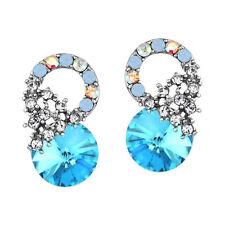 New Swarovski Element Crystal Stylish Elegant Round Blue Stud Pierced Earrings