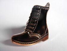 Doc Marten pin badge. Black bovver boot. Skinhead DM