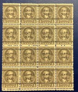 US STAMP #551-1/2c NATHAN HALE-BLOCK OF 16-1925 - MNH Pre Can Seattle 8228004