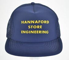 Hannaford Store Engineering Engineer Blue Yellow Mesh Trucker Snapback Hat Cap