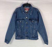 VTG Wrangler Hero Mens Denim Jacket Tab Button Size L Western Trucker Blue Jean