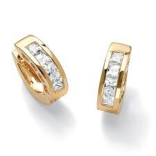 PalmBeach Jewelry 2.96 TCW Princess-Cut CZ Huggie-Hoop Earrings 14k Gold-Plated