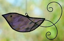 VIOLET PURPLE BIRD with HAND SCROLLED WIRE WINGS Stained Glass SUNCATCHER GIFTS