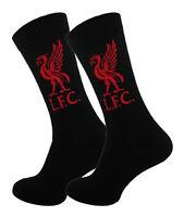 2 Pairs Mens Black LIVERPOOL FC Official Football Club Dress Socks, Size 6-11