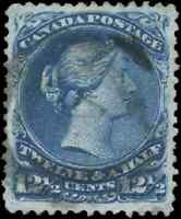 Canada 28 used VF 1868 Queen Victoria 12 1/2c blue Large Queen CV$160.00
