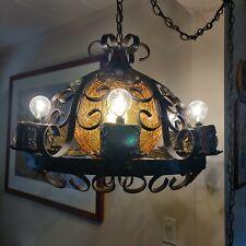 Vtg Gothic Medieval Spanish Iron Metal Amber Glass Chandelier 7 Light Fixture *