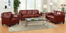 Comfort Design Living Room 2 pc Red Double Stitching Sofa Love-seat Leatherette
