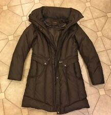 BEAUTIFUL WOMENS COLE HAAN DOWN PUFFER COAT BROWN SIZE SMALL WITH HOOD