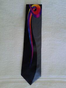 VITALIANO PANCALDI Men's 100% Silk Necktie ITALY Luxury Geometric Black Gray #1